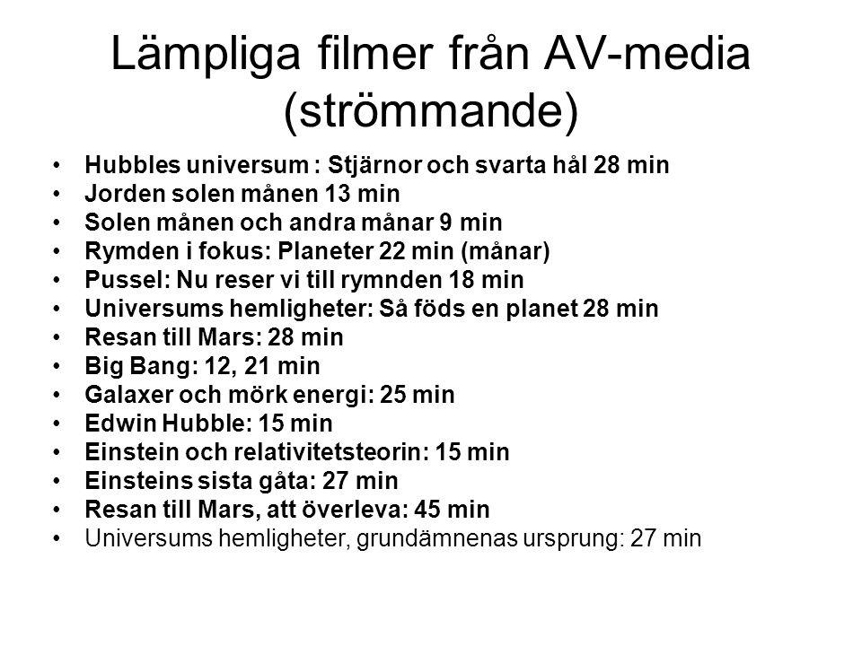 Lämpliga filmer från AV-media (strömmande) •Hubbles universum : Stjärnor och svarta hål 28 min •Jorden solen månen 13 min •Solen månen och andra månar