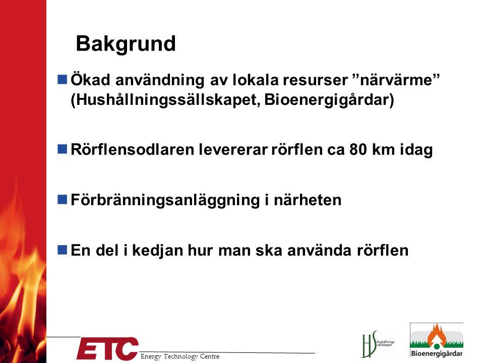 Energy Technology Centre Försöksplan Skogsflis (GRoT, egenflisad massa, fukthalt ca 35 %) Försök 1 Elda anläggningen som vanligt med skogsflis Försök 2 Inblandning av 20 % exakthackad rörflen Försök 3( Utgår, 100 % exakthackad rörflen) 100 % rörflensbriketter Försöken genomfördes under hösten/vintern 2009/2010