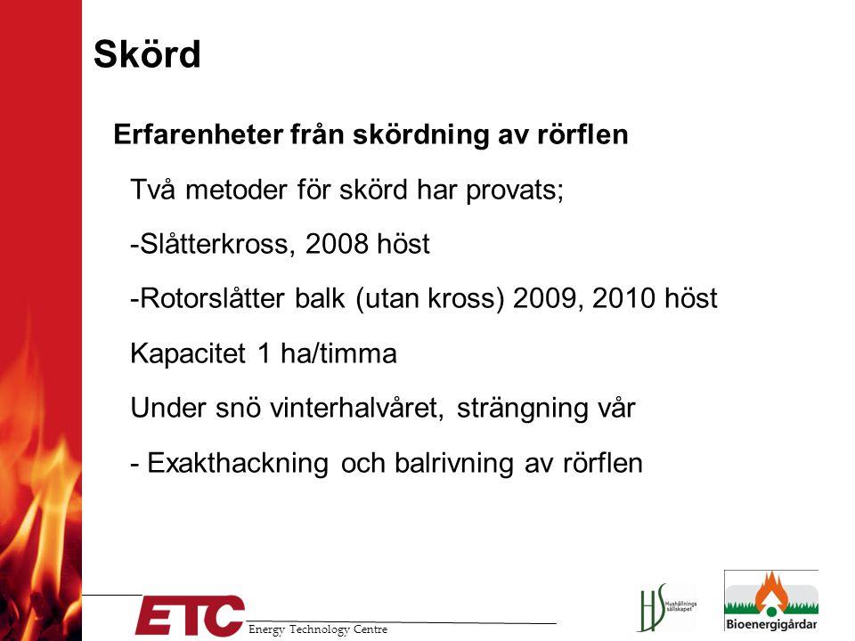 Energy Technology Centre Skörd Erfarenheter från skördning av rörflen -Två metoder för skörd har provats; --Slåtterkross, 2008 höst --Rotorslåtter bal