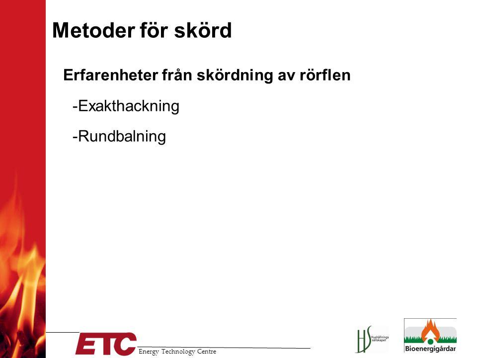 Energy Technology Centre Metoder för skörd Erfarenheter från skördning av rörflen --Exakthackning --Rundbalning