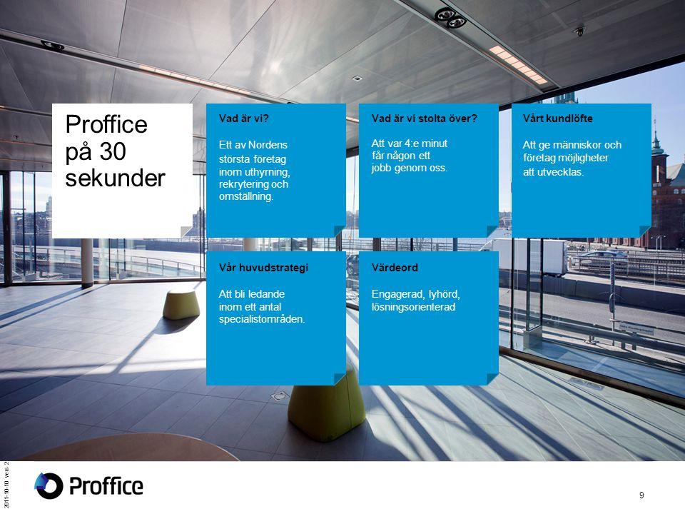 2011-10-10 vers 2 9 Proffice på 30 sekunder Vad är vi? Ett av Nordens största företag inom uthyrning, rekrytering och omställning. Vad är vi stolta öv