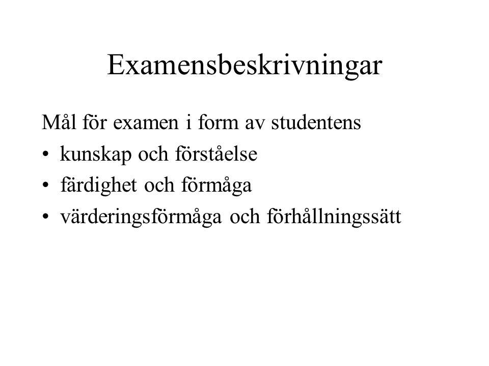 Examensbeskrivningar Mål för examen i form av studentens •kunskap och förståelse •färdighet och förmåga •värderingsförmåga och förhållningssätt
