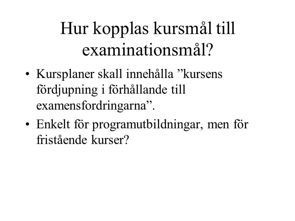 Hur kopplas kursmål till examinationsmål.