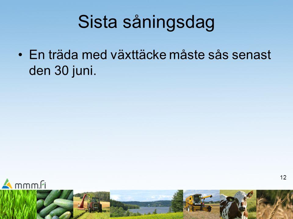 12 Sista såningsdag •En träda med växttäcke måste sås senast den 30 juni.
