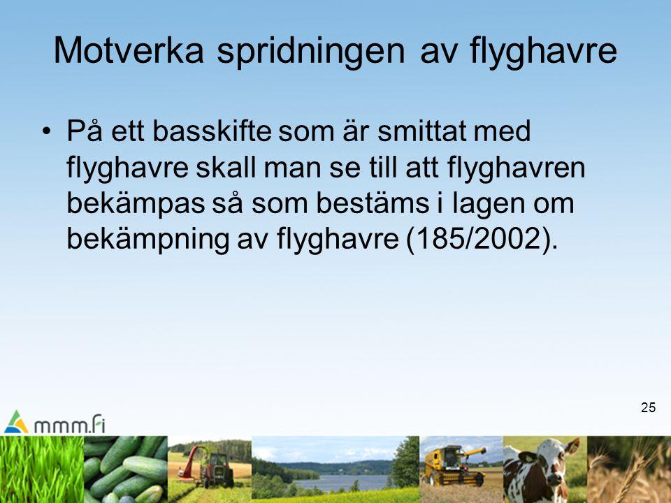 25 Motverka spridningen av flyghavre •På ett basskifte som är smittat med flyghavre skall man se till att flyghavren bekämpas så som bestäms i lagen om bekämpning av flyghavre (185/2002).
