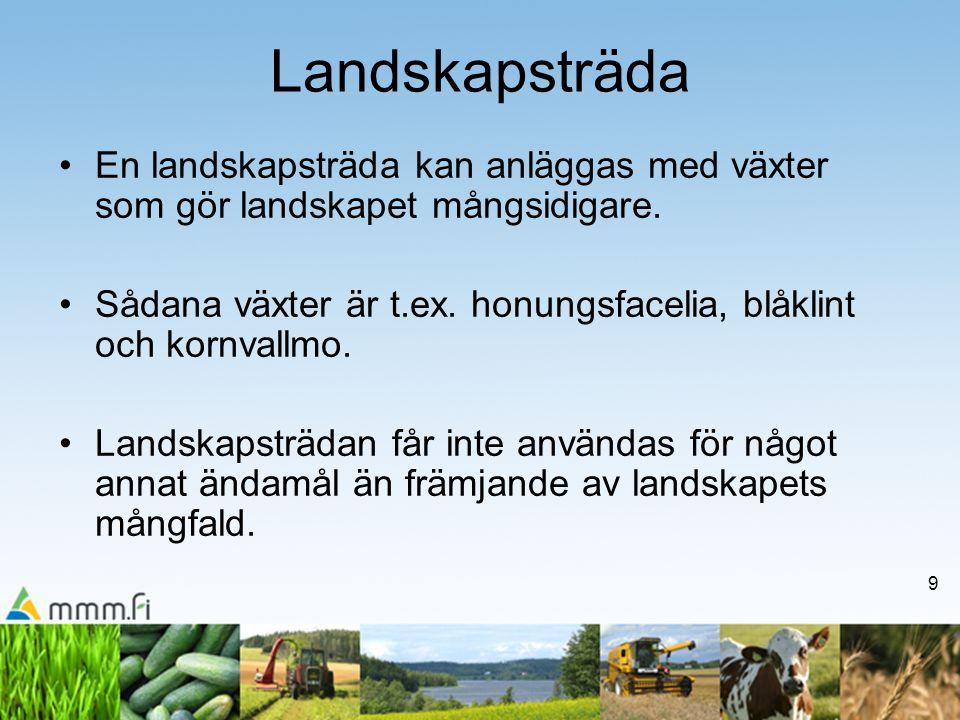 9 Landskapsträda •En landskapsträda kan anläggas med växter som gör landskapet mångsidigare.