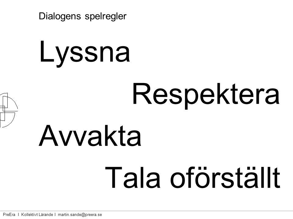 PreEra I Kollektivt Lärande I martin.sande@preera.se Dialogens spelregler Lyssna Respektera Avvakta Tala oförställt