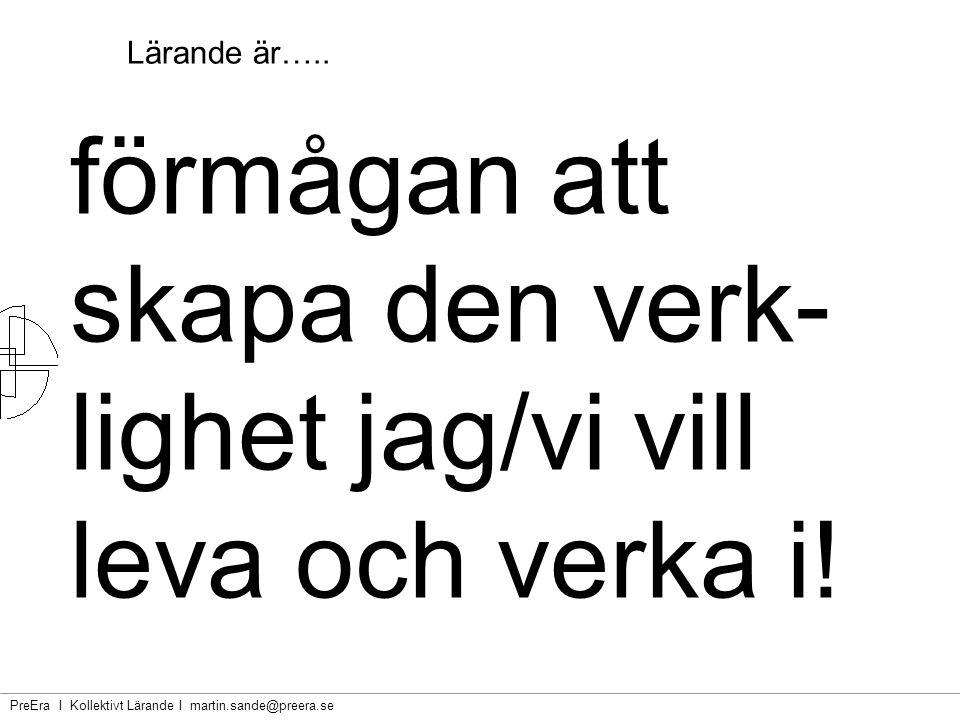 PreEra I Kollektivt Lärande I martin.sande@preera.se Lärande är…..