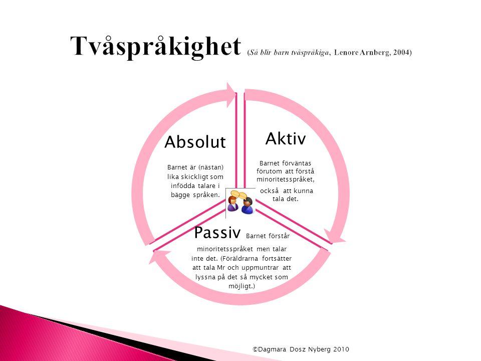  Barn från familjer i vilka föräldrarna talar svenska har normal språkutveckling när det gäller svenskan.