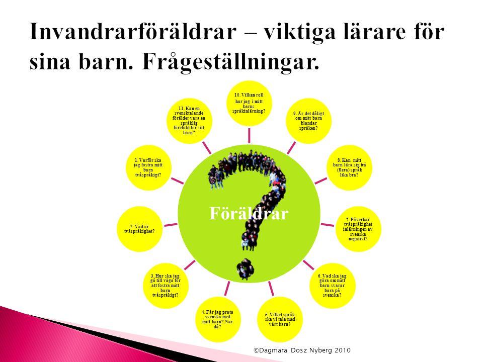Föräldrar 10. Vilken roll har jag i mitt barns språkinlärning? 9. Är det dåligt om mitt barn blandar språken? 8. Kan mitt barn lära sig två (flera) sp
