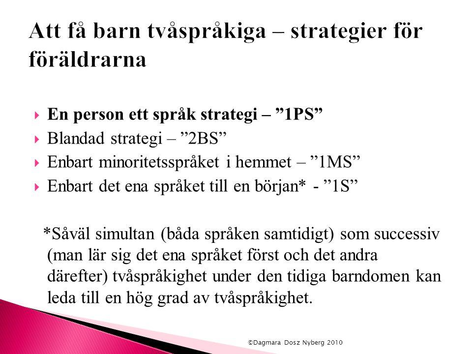 """ En person ett språk strategi – """"1PS""""  Blandad strategi – """"2BS""""  Enbart minoritetsspråket i hemmet – """"1MS""""  Enbart det ena språket till en början*"""