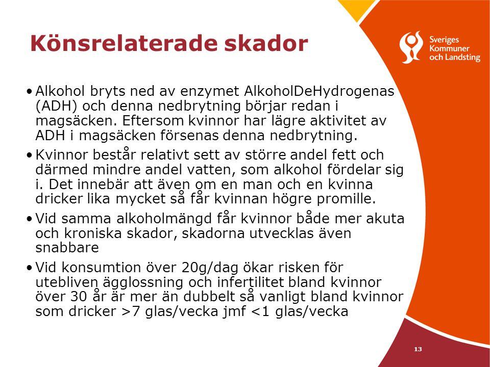 13 Könsrelaterade skador •Alkohol bryts ned av enzymet AlkoholDeHydrogenas (ADH) och denna nedbrytning börjar redan i magsäcken. Eftersom kvinnor har