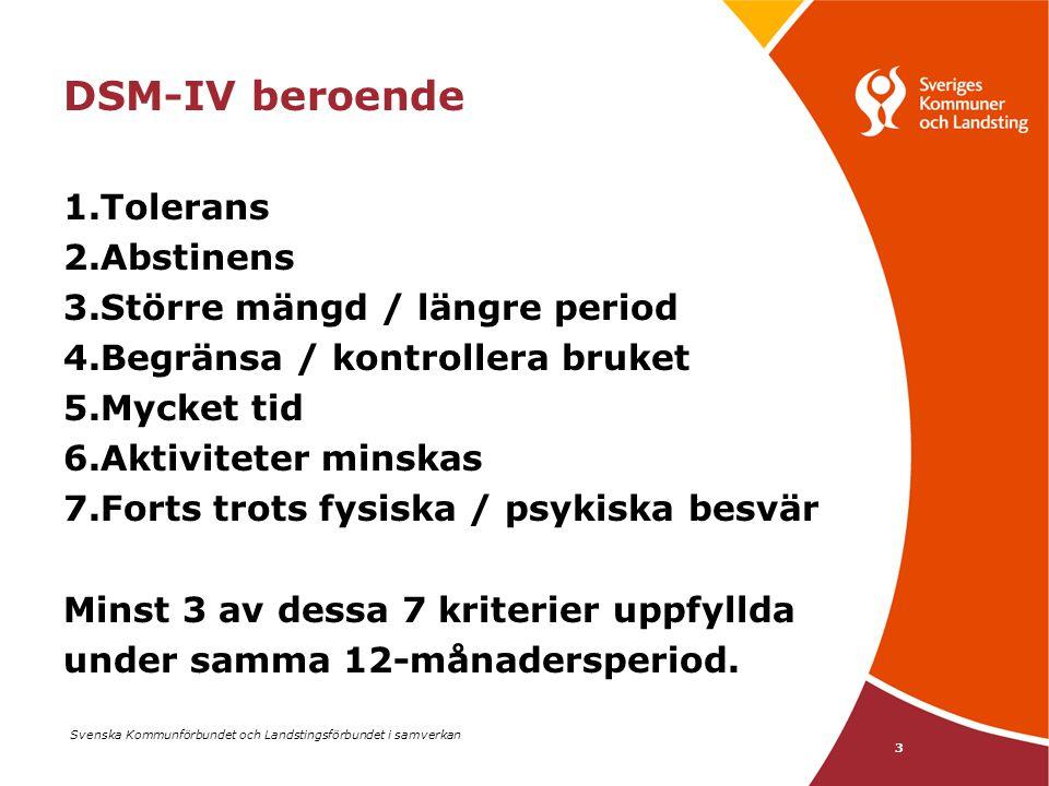 Svenska Kommunförbundet och Landstingsförbundet i samverkan 3 DSM-IV beroende 1.Tolerans 2.Abstinens 3.Större mängd / längre period 4.Begränsa / kontr