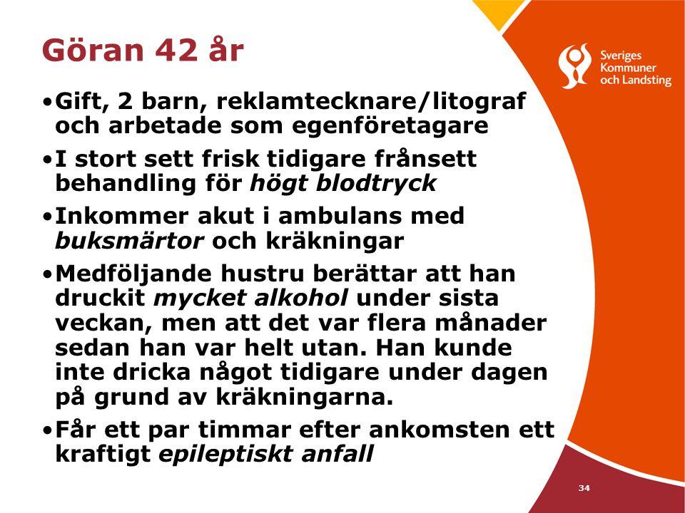 34 Göran 42 år •Gift, 2 barn, reklamtecknare/litograf och arbetade som egenföretagare •I stort sett frisk tidigare frånsett behandling för högt blodtr