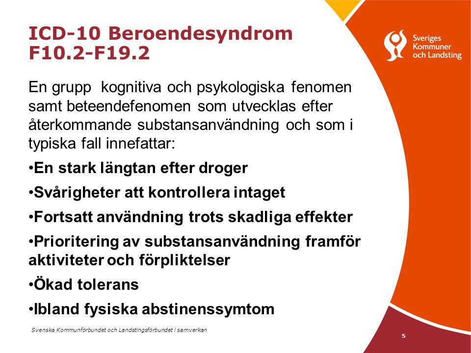 Svenska Kommunförbundet och Landstingsförbundet i samverkan 5 ICD-10 Beroendesyndrom F10.2-F19.2 En grupp kognitiva och psykologiska fenomen samt bete