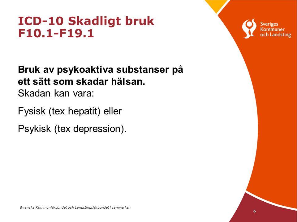 Svenska Kommunförbundet och Landstingsförbundet i samverkan 6 ICD-10 Skadligt bruk F10.1-F19.1 Bruk av psykoaktiva substanser på ett sätt som skadar h