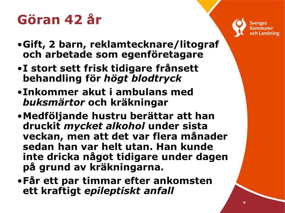 9 Göran 42 år •Gift, 2 barn, reklamtecknare/litograf och arbetade som egenföretagare •I stort sett frisk tidigare frånsett behandling för högt blodtry
