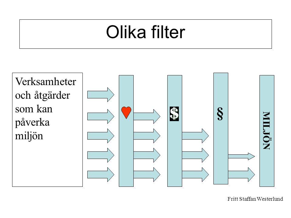 Verksamheter och åtgärder som kan påverka miljön MILJÖN § Olika filter Fritt Staffan Westerlund