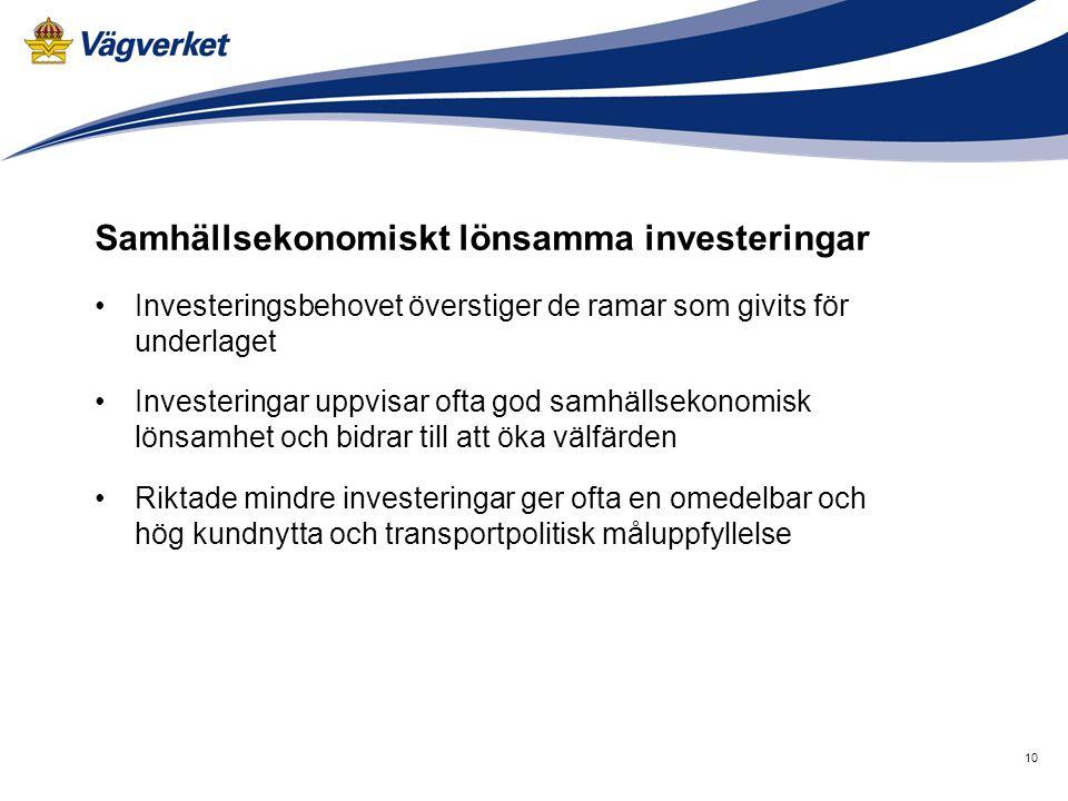 10 Samhällsekonomiskt lönsamma investeringar •Investeringsbehovet överstiger de ramar som givits för underlaget •Investeringar uppvisar ofta god samhä