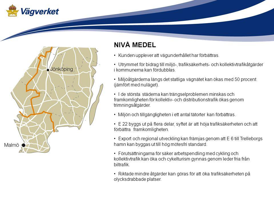 19 • Kunden upplever att vägunderhållet har förbättras. • Utrymmet för bidrag till miljö-, trafiksäkerhets- och kollektivtrafikåtgärder i kommunerna k