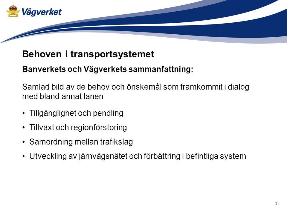 31 Behoven i transportsystemet Banverkets och Vägverkets sammanfattning: Samlad bild av de behov och önskemål som framkommit i dialog med bland annat
