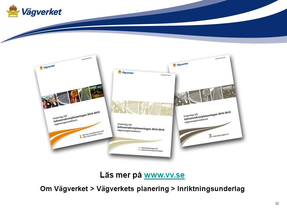 32 Läs mer på www.vv.sewww.vv.se Om Vägverket > Vägverkets planering > Inriktningsunderlag