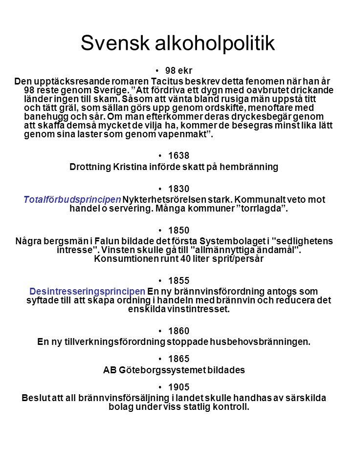 Svensk alkoholpolitik •1912 AB Göteborgssystemet började sin verksamhet med att införa anmälningsbevis och individuell registrering av spritinköp.
