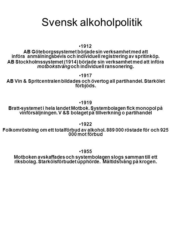 Svensk alkoholpolitik •1912 AB Göteborgssystemet började sin verksamhet med att införa anmälningsbevis och individuell registrering av spritinköp. AB