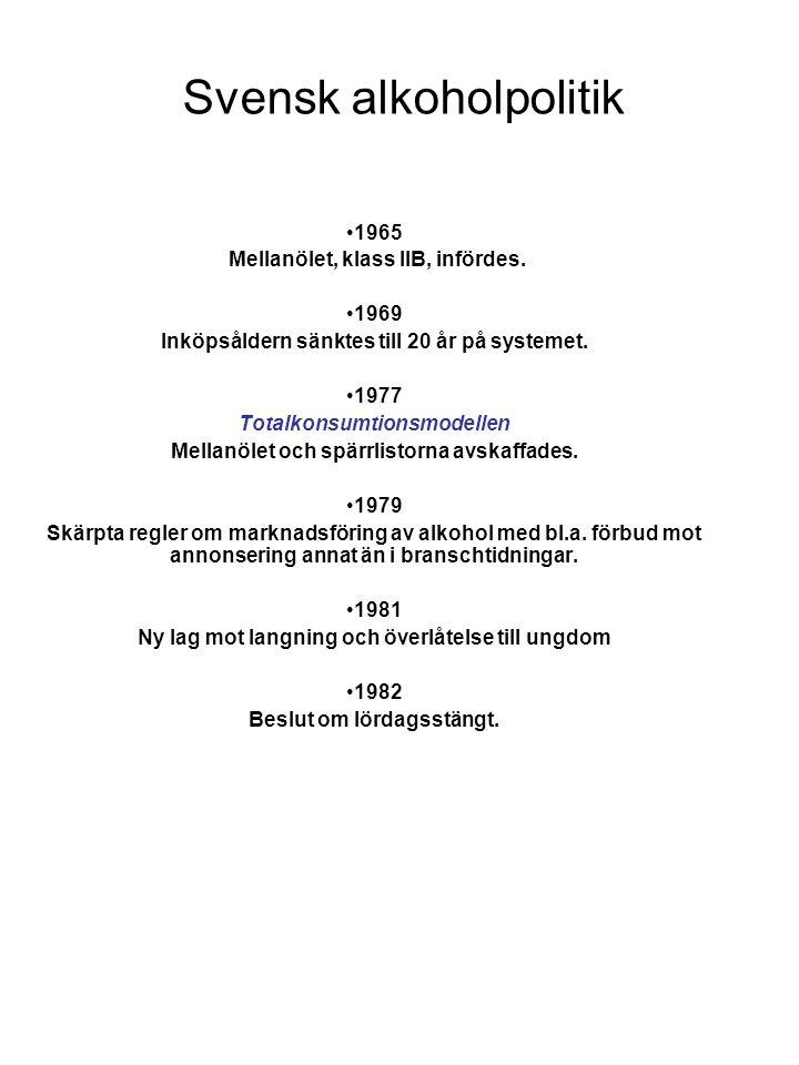 Svensk alkoholpolitik •1995 Förfinad totalkonsumtionsmodell En ny alkohollag trädde i kraft varvid Vin & Sprits monopol på import, export, tillverkning och partihandel avskaffades.