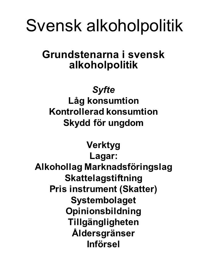 Svensk alkoholpolitik Grundstenarna i svensk alkoholpolitik Syfte Låg konsumtion Kontrollerad konsumtion Skydd för ungdom Verktyg Lagar: Alkohollag Ma