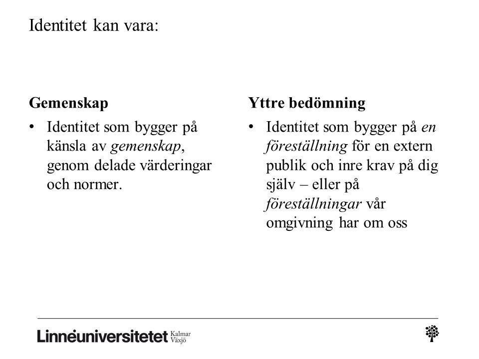 Identitet i organisationer • Identitet (genus osv.) ses som socialt konstruerad, dvs.