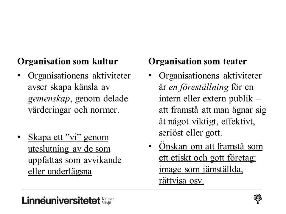 Organisation som kultur • Organisationens aktiviteter avser skapa känsla av gemenskap, genom delade värderingar och normer.