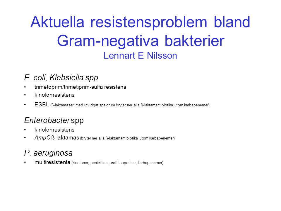 Aktuella resistensproblem bland Gram-negativa bakterier Lennart E Nilsson E.