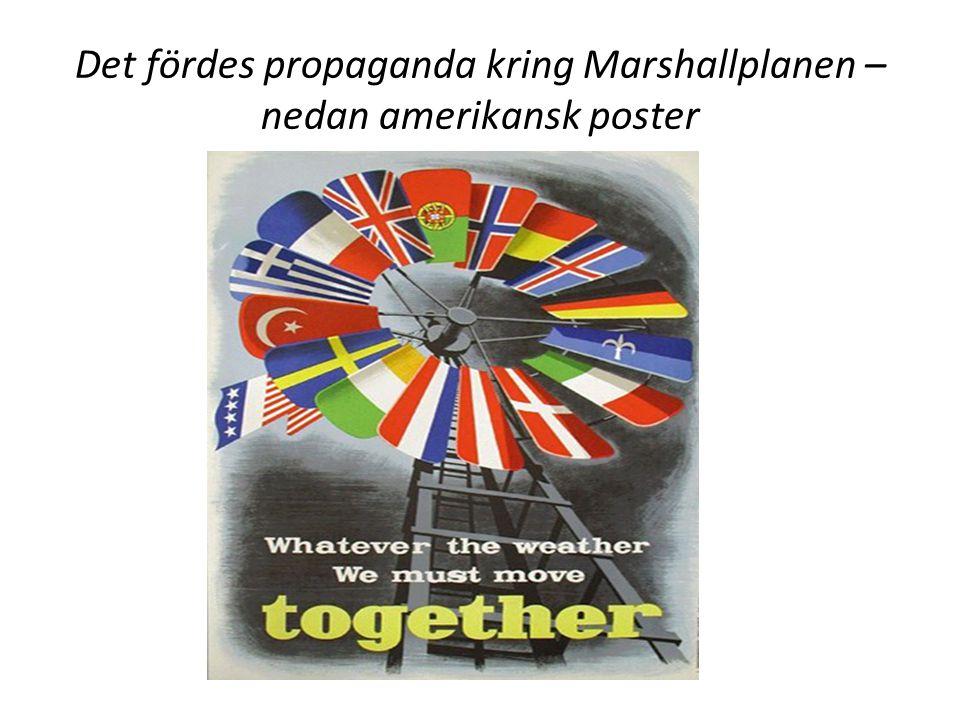 Det fördes propaganda kring Marshallplanen – nedan amerikansk poster