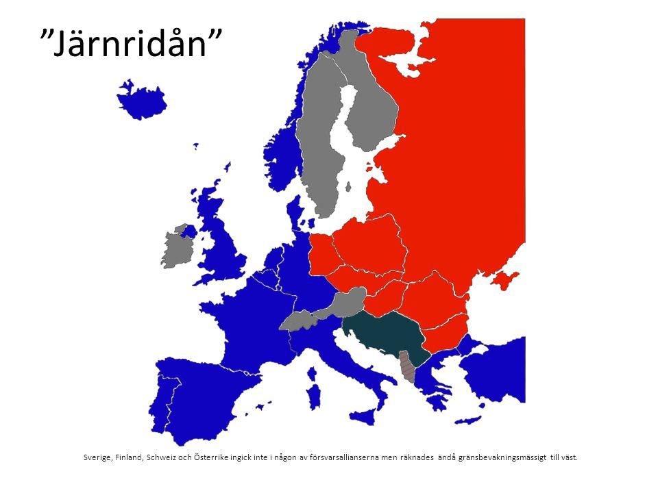 Järnridån Sverige, Finland, Schweiz och Österrike ingick inte i någon av försvarsallianserna men räknades ändå gränsbevakningsmässigt till väst.