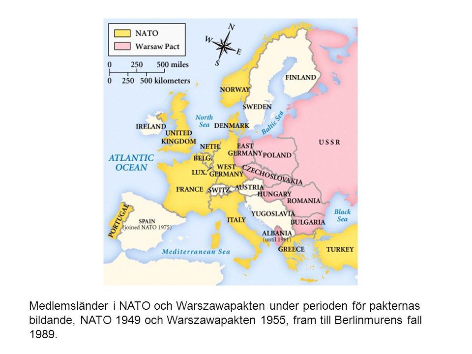 Medlemsländer i NATO och Warszawapakten under perioden för pakternas bildande, NATO 1949 och Warszawapakten 1955, fram till Berlinmurens fall 1989.