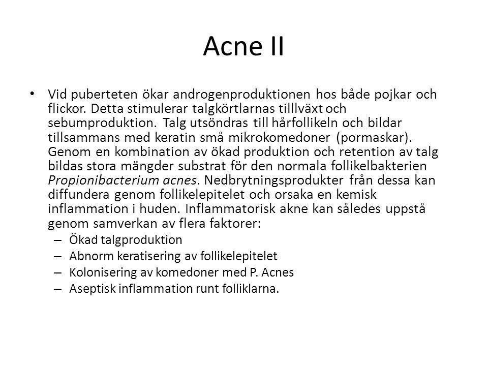 Acne II • Vid puberteten ökar androgenproduktionen hos både pojkar och flickor. Detta stimulerar talgkörtlarnas tilllväxt och sebumproduktion. Talg ut