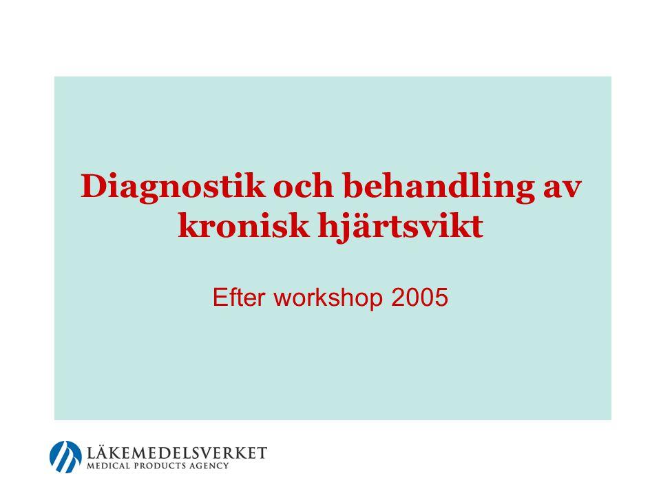 12 Hjärtsvikt – vanligt hos äldre  Ett av de vanligaste allvarliga tillstånden  2-3 % av Sveriges befolkning har hjärtsvikt  Vanligare ju äldre man blir –mer än 10 % av personer över 80 år har symtomgivande hjärtsvikt  Vanligare hos män än hos kvinnor