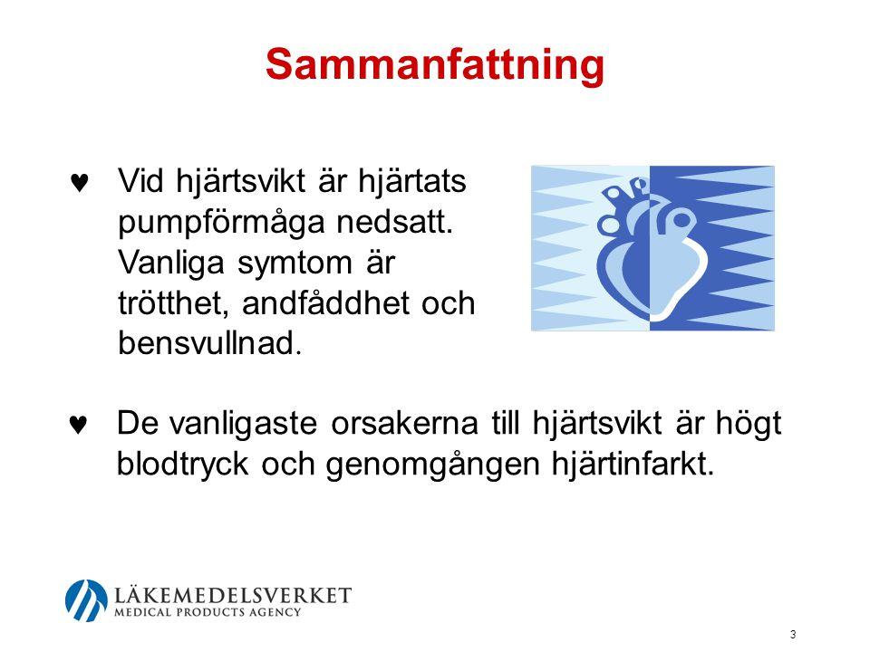 3 Sammanfattning  De vanligaste orsakerna till hjärtsvikt är högt blodtryck och genomgången hjärtinfarkt.  Vid hjärtsvikt är hjärtats pumpförmåga ne