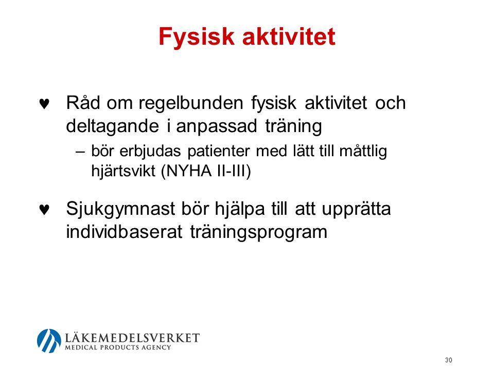 30 Fysisk aktivitet  Råd om regelbunden fysisk aktivitet och deltagande i anpassad träning –bör erbjudas patienter med lätt till måttlig hjärtsvikt (