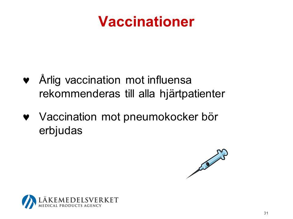 31 Vaccinationer  Årlig vaccination mot influensa rekommenderas till alla hjärtpatienter  Vaccination mot pneumokocker bör erbjudas