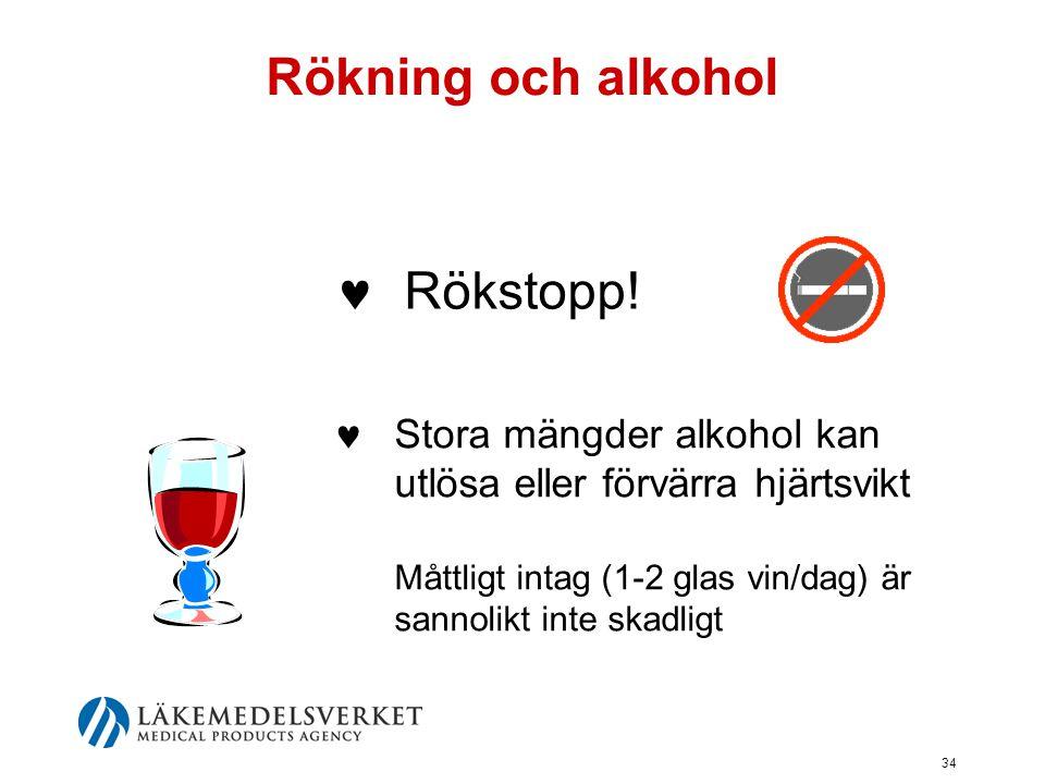 34 Rökning och alkohol  Stora mängder alkohol kan utlösa eller förvärra hjärtsvikt Måttligt intag (1-2 glas vin/dag) är sannolikt inte skadligt  Rök