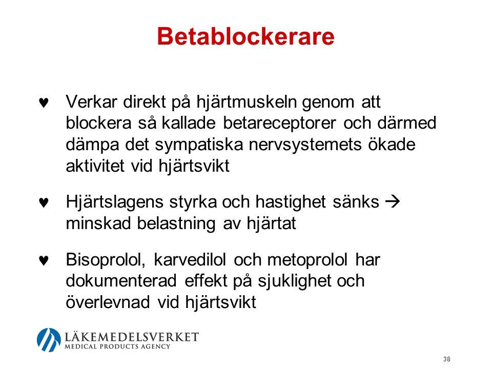 38 Betablockerare  Verkar direkt på hjärtmuskeln genom att blockera så kallade betareceptorer och därmed dämpa det sympatiska nervsystemets ökade akt