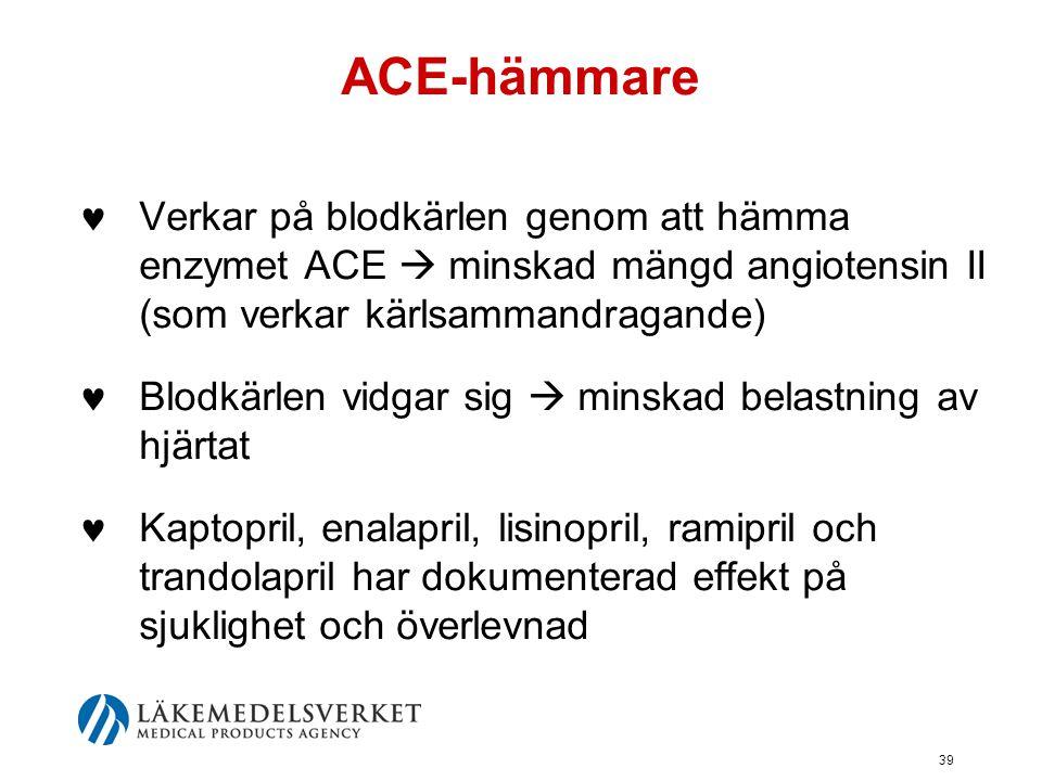 39 ACE-hämmare  Verkar på blodkärlen genom att hämma enzymet ACE  minskad mängd angiotensin II (som verkar kärlsammandragande)  Blodkärlen vidgar s