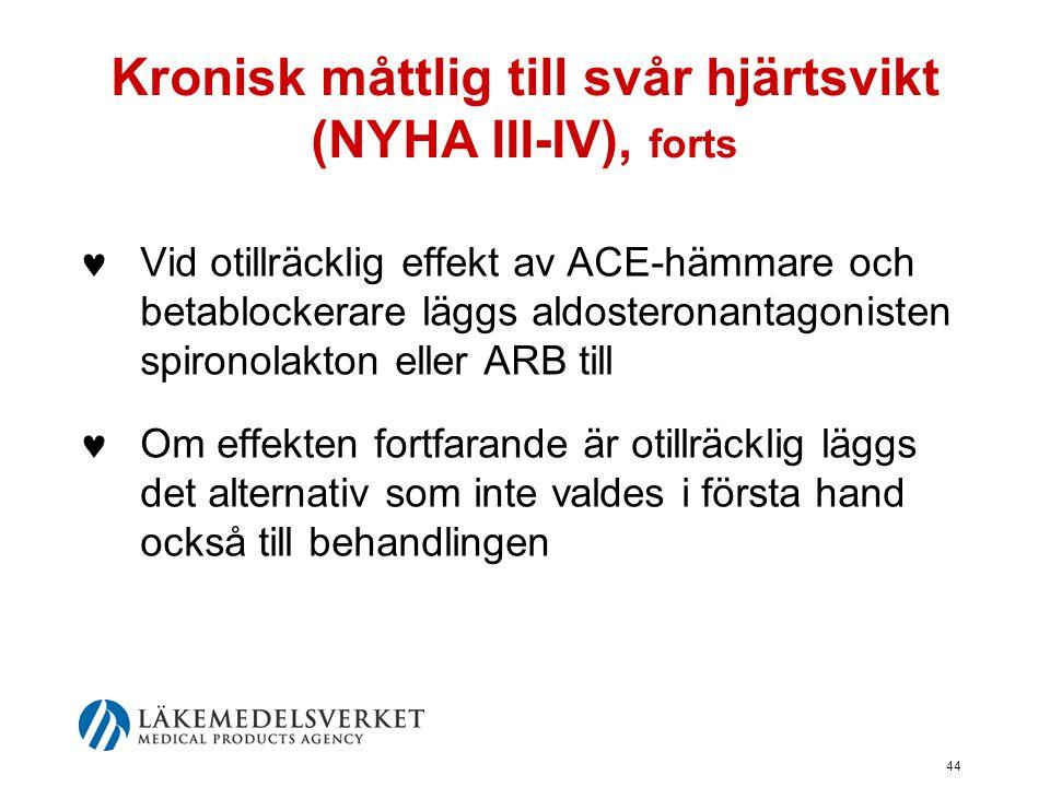 44 Kronisk måttlig till svår hjärtsvikt (NYHA III-IV), forts  Vid otillräcklig effekt av ACE-hämmare och betablockerare läggs aldosteronantagonisten