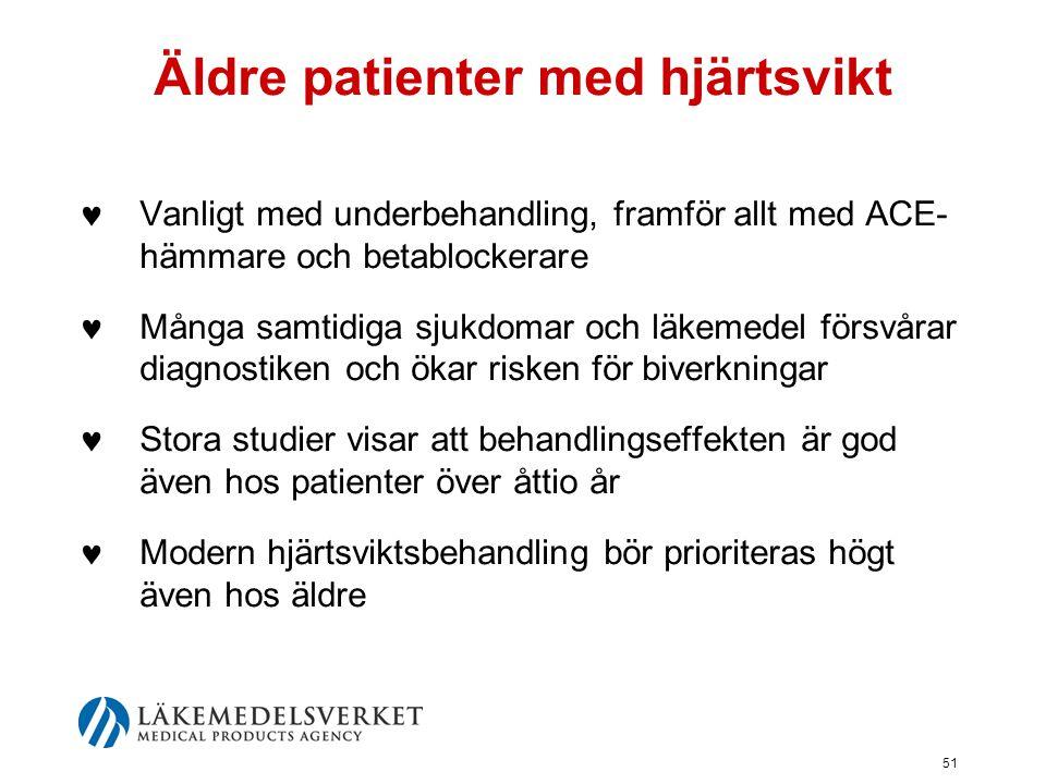 51 Äldre patienter med hjärtsvikt  Vanligt med underbehandling, framför allt med ACE- hämmare och betablockerare  Många samtidiga sjukdomar och läke