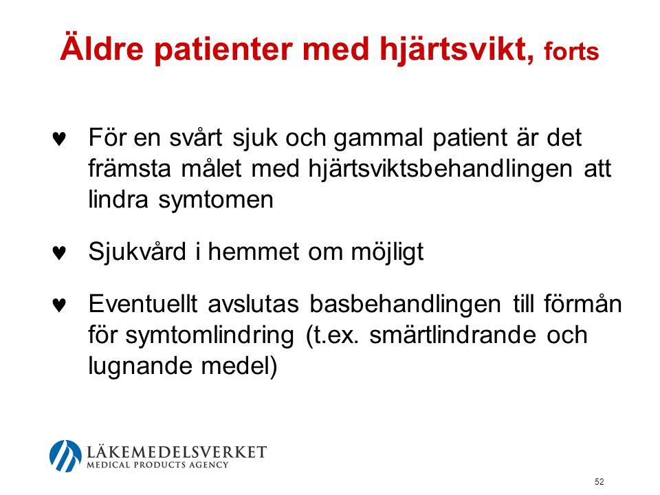 52 Äldre patienter med hjärtsvikt, forts  För en svårt sjuk och gammal patient är det främsta målet med hjärtsviktsbehandlingen att lindra symtomen 