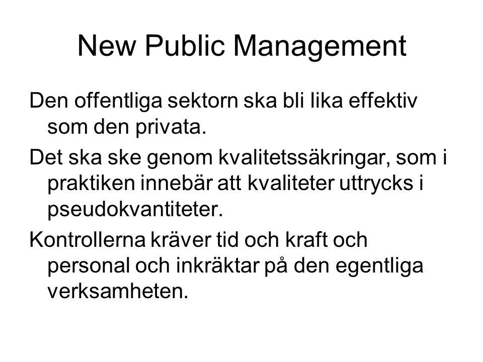 New Public Management Den offentliga sektorn ska bli lika effektiv som den privata. Det ska ske genom kvalitetssäkringar, som i praktiken innebär att