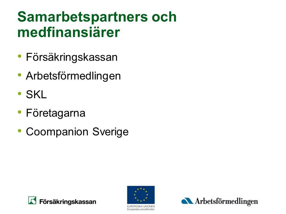Samarbetspartners och medfinansiärer • Försäkringskassan • Arbetsförmedlingen • SKL • Företagarna • Coompanion Sverige