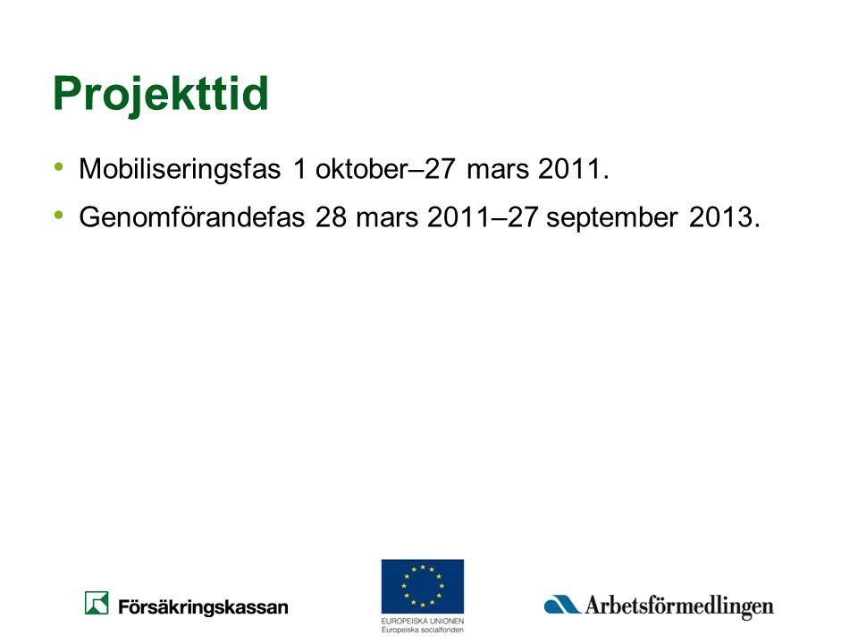 Projekttid • Mobiliseringsfas 1 oktober–27 mars 2011. • Genomförandefas 28 mars 2011–27 september 2013.